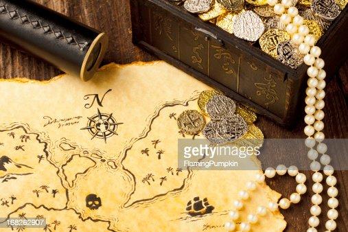 Treasure Map and Spy Glass. Full Frame. XXXL