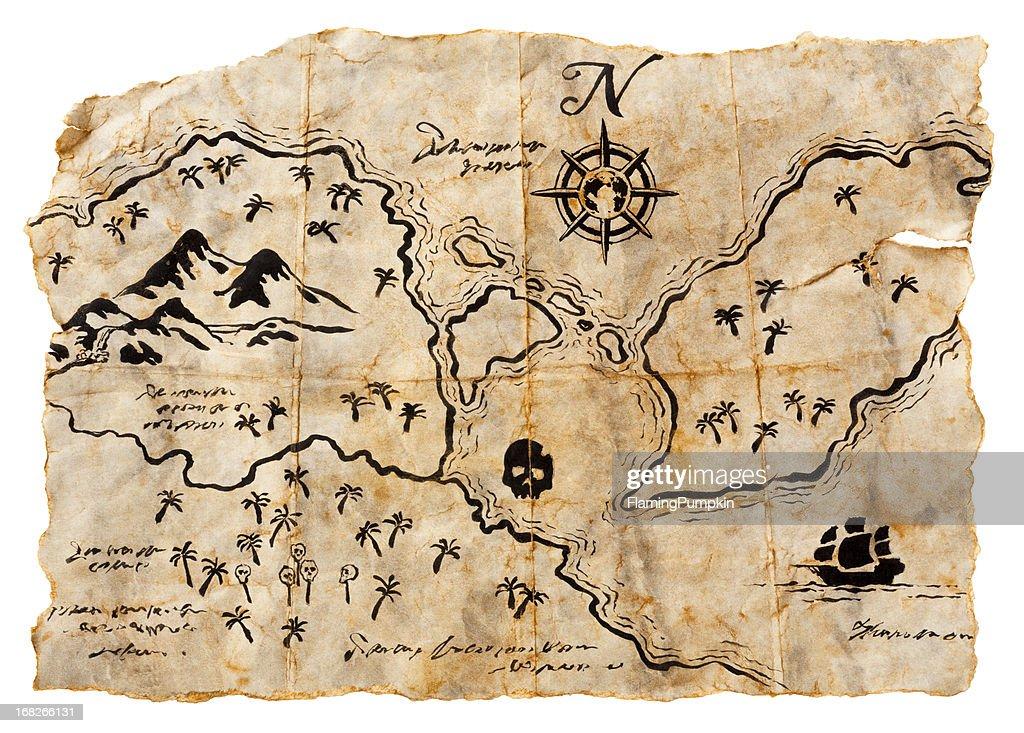 Treasure Map Isolated on White. Horizontal, XXXL