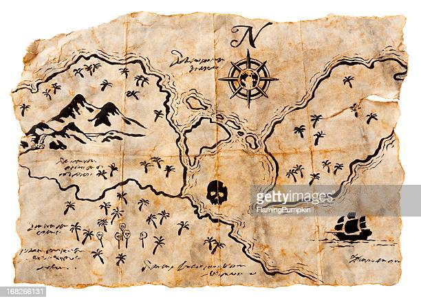 Treasure Map Isolated on White. Horizontal, XXXL
