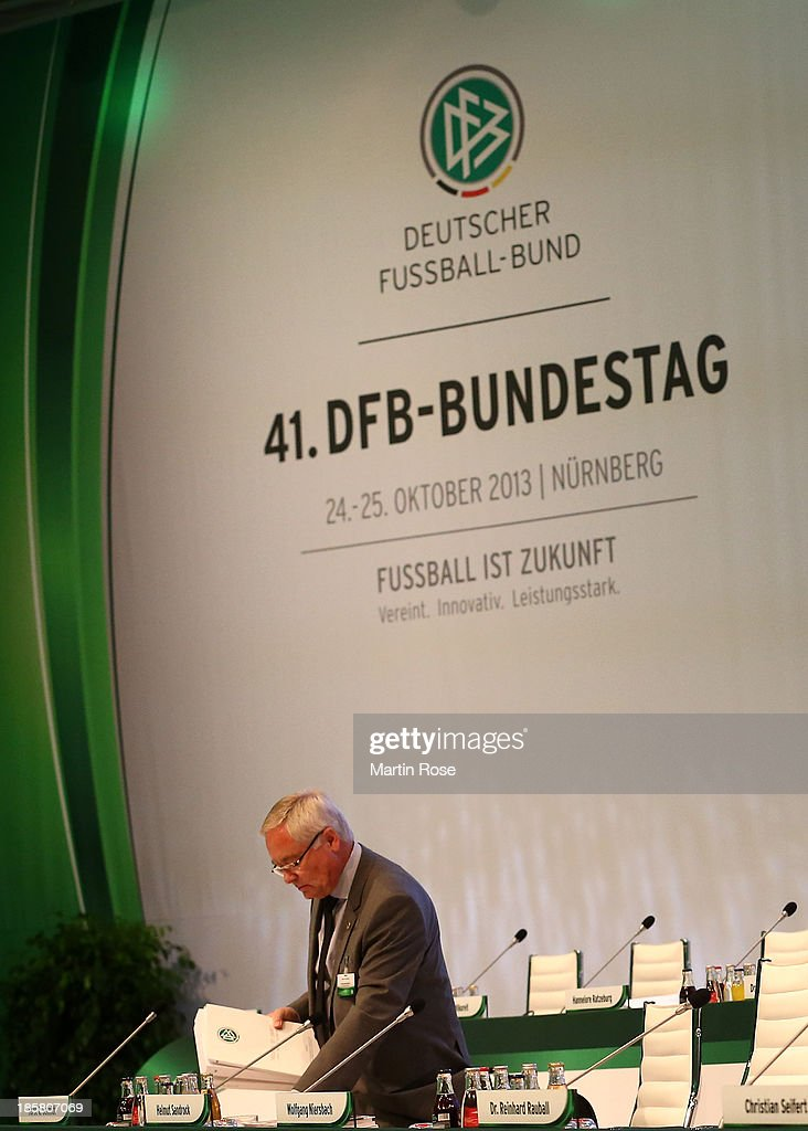 DFB treasurer <a gi-track='captionPersonalityLinkClicked' href=/galleries/search?phrase=Horst+R.+Schmidt&family=editorial&specificpeople=585662 ng-click='$event.stopPropagation()'>Horst R. Schmidt</a> looks on during the DFB Bundestag Day 2 at NCC Nuremberg on October 25, 2013 in Nuremberg, Germany.