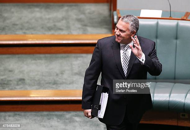 Treasurer Joe Hockey arrives to House of Representatives question time at Parliament House on June 1 2015 in Canberra Australia