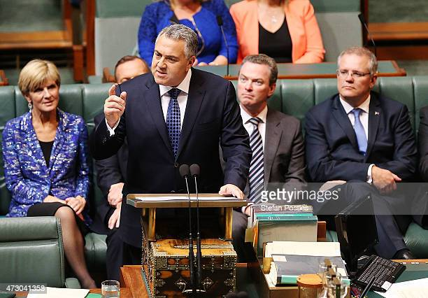 Treasurer Joe Hockey delivers the budget in the House of Representatives in Parliament House on May 12 2015 in Canberra Australia The Coalition...