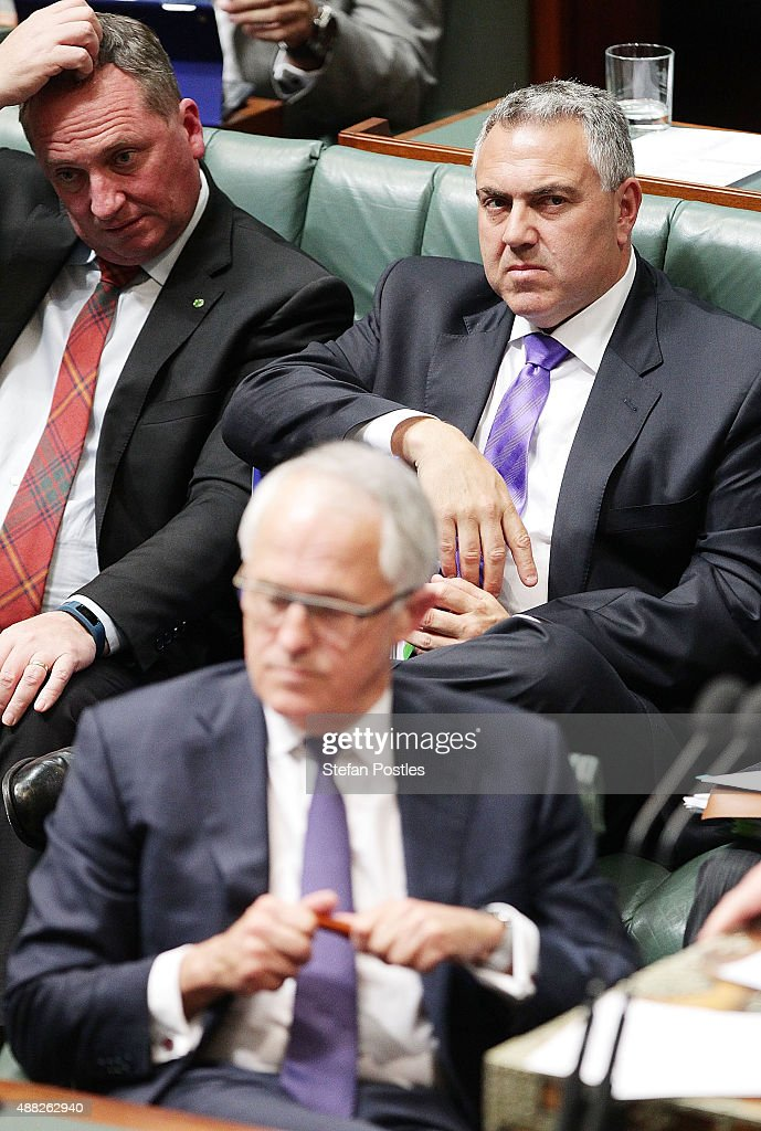 Treasurer Joe Hockey during House of Representatives question time at Parliament House on September 15, 2015 in Canberra, Australia. Malcolm Turnbull will become the 29th Prime Minister of Australia after he defeated Tony Abbott 54 votes to 44 in a snap leadership ballot on Monday night. Julie Bishop remains deputy leader of the Liberal party following the spill.