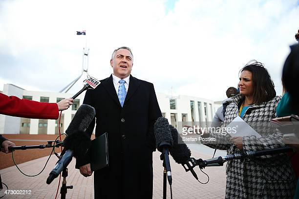 Treasurer Joe Hockey holds a short press conference at the Parliament House forecourt on May 12 2015 in Canberra Australia The Coalition government...