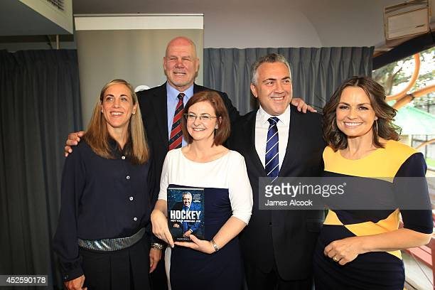 Treasurer Joe Hockey poses with is partner Melissa Babbage Peter FitzSimons Lisa Wilkinson and writer Madonna King at the launch Joe Hockey's...