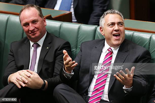 Treasurer Joe Hockey reacts to Opposition leader Bill Shorten's budget reply speech on May 14 2015 in Canberra Australia The Abbott Government's...