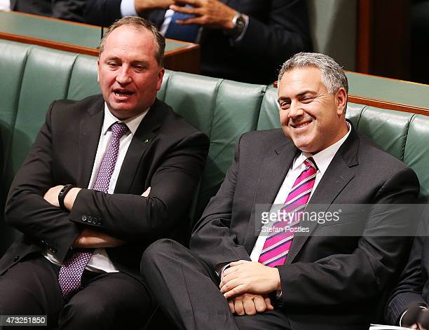 Treasurer Joe Hockey reacts to Opposition leader Bill Shorten's budget reply speech on May 14 2015 in Canberra Australia The Abbott Government's...