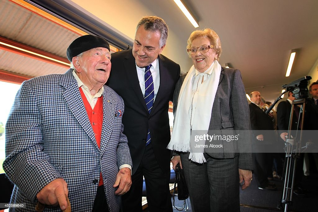 Treasurer, <a gi-track='captionPersonalityLinkClicked' href=/galleries/search?phrase=Joe+Hockey&family=editorial&specificpeople=2961513 ng-click='$event.stopPropagation()'>Joe Hockey</a> smiles with his parents at the launch of his biography at North Sydney Oval on July 24, 2014 in Sydney, Australia. The biography, authored by Madonna King, names <a gi-track='captionPersonalityLinkClicked' href=/galleries/search?phrase=Joe+Hockey&family=editorial&specificpeople=2961513 ng-click='$event.stopPropagation()'>Joe Hockey</a> as the most likely successor to PM Tony Abbott.