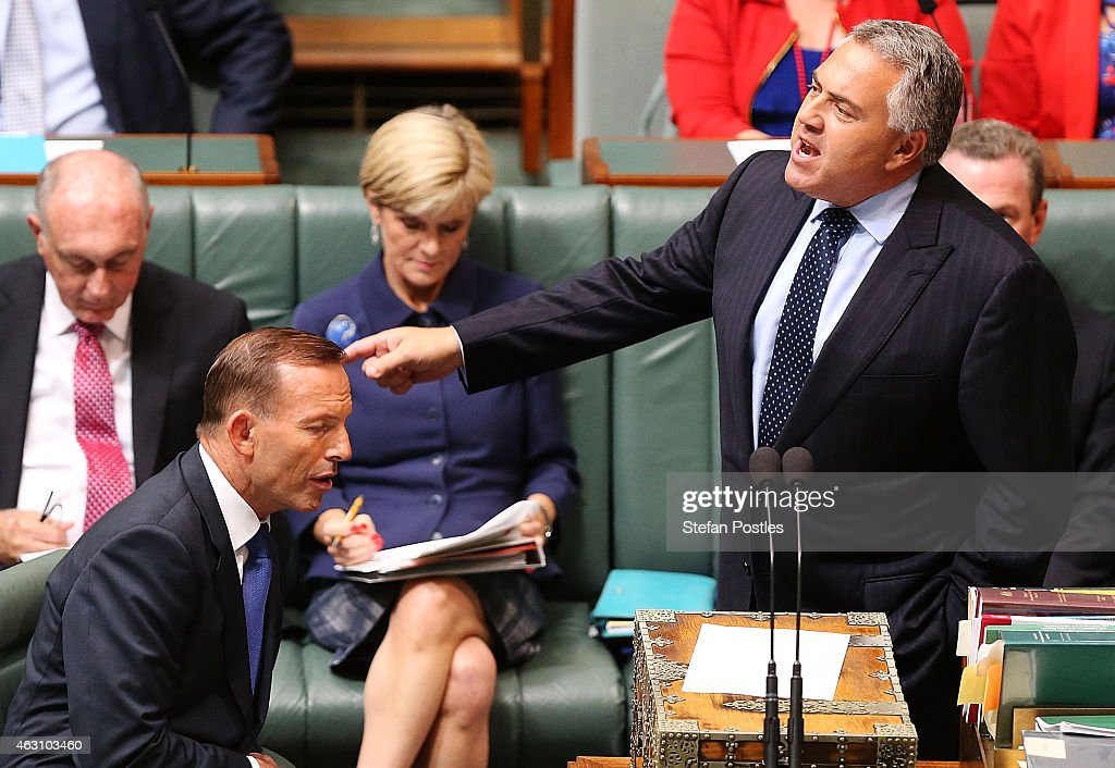Treasurer <a gi-track='captionPersonalityLinkClicked' href=/galleries/search?phrase=Joe+Hockey&family=editorial&specificpeople=2961513 ng-click='$event.stopPropagation()'>Joe Hockey</a> speaks during House of Representatives question time at Parliament House on February 10, 2015 in Canberra, Australia. A Liberal party leadership spill motion was defeated yesterday with 61 against and 39 for the spill, putting pressure on Prime Minister <a gi-track='captionPersonalityLinkClicked' href=/galleries/search?phrase=Tony+Abbott&family=editorial&specificpeople=220956 ng-click='$event.stopPropagation()'>Tony Abbott</a> to stick to promises to be more consultative with backbenchers.