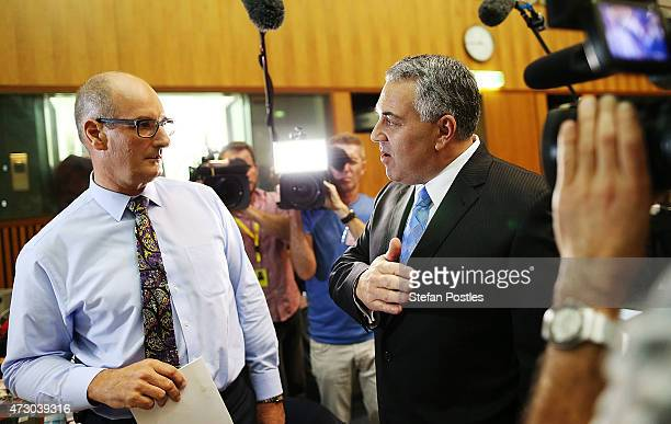 Treasurer Joe Hockey speaks to members of the media during the Budget lockup at Parliament House on May 12 2015 in Canberra Australia The Coalition...