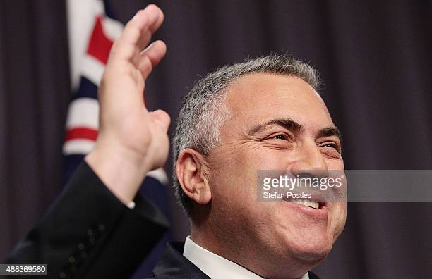 Treasurer Joe Hockey speaks to the media during a press conference with ATO Commissioner of Taxation Chris Jordan at Parliament House on September 16...