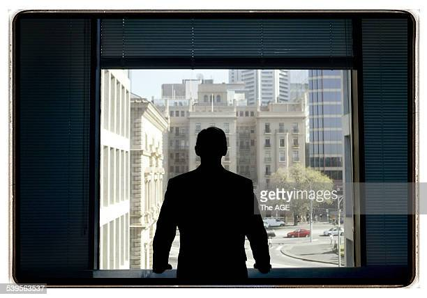 Treasurer John Brumby takes time out to look over the city after putting the final touches on the budget to be presented to the Victorian public next...