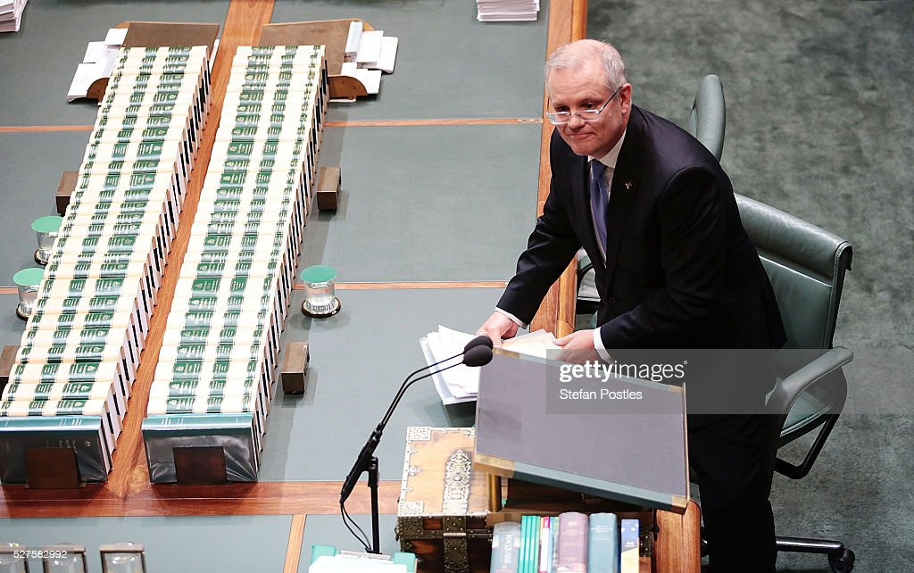 Treasurer Scott Morrison after delivering his budget in the House of Representatives at Parliament House on May 3, 2016 in Canberra, Australia. The Coalition government will deliver the 2016 federal budget tonight, and is expected to announce changes to the tax system for individuals and business as well as changes to superannuation.