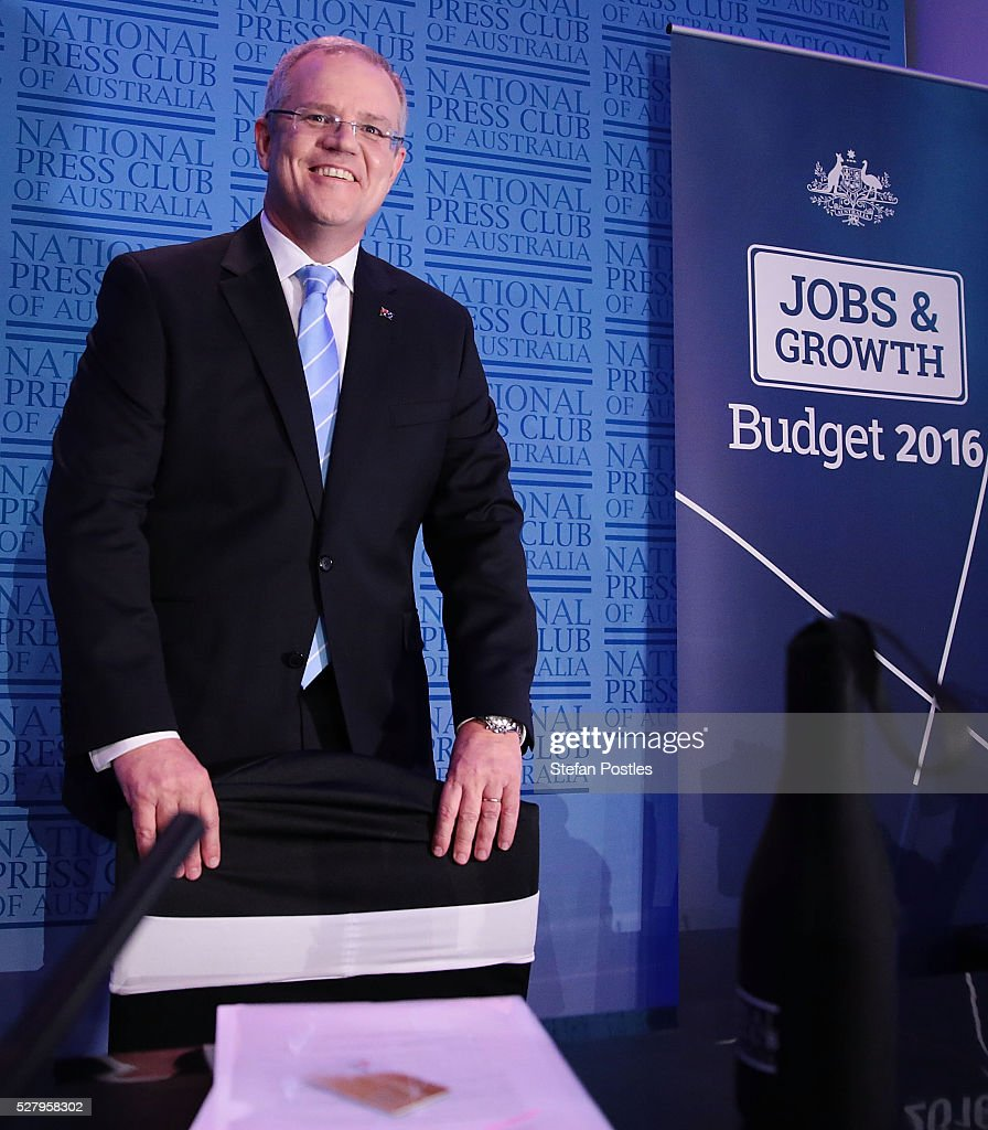 Treasurer Scott Morrison after delivering his post Budget National Press Club address in the Great Hall at Parliament House on May 4, 2016 in Canberra, Australia. The Turnbull Goverment's first budget has delivered tax cuts for small and medium businesses, income tax cuts people earning over $80,000 a year, new measures to help young Australians into jobs, and cutbacks to superannuation concessions for the wealthy.