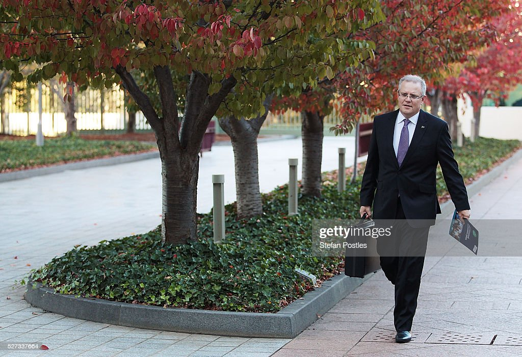 Treasurer Scott Morrison arrives at Parliament House on May 3, 2016 in Canberra, Australia. The Coalition government will deliver the 2016 federal budget tonight, and is expected to announce changes to the tax system for individuals and business as well as changes to superannuation.