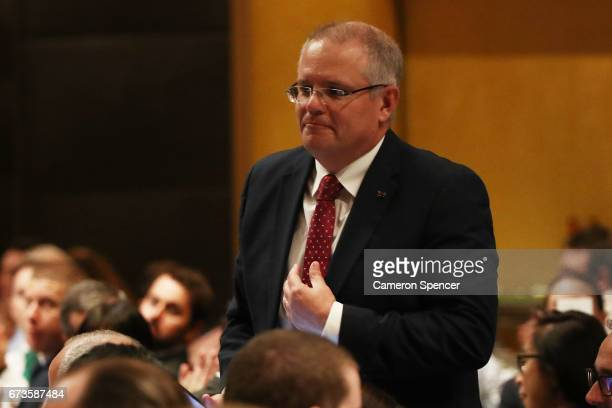 Treasurer Scott Morrison attends the Australian Business Economists forum at Westin Hotel on April 27 2017 in Sydney Australia The treasurer will...