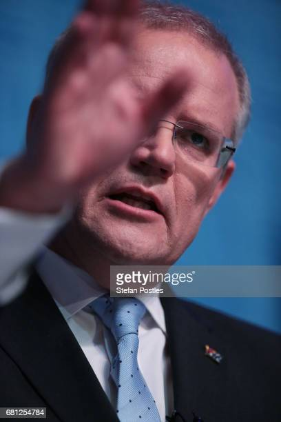 Treasurer Scott Morrison delivers his 2017 Post Budget National Press Club Address at Parliament House on May 10 2017 in Canberra Australia The...