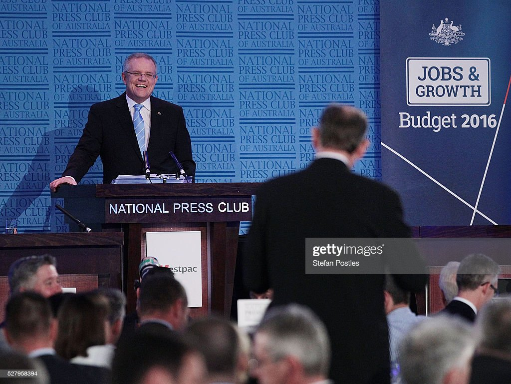 Treasurer Scott Morrison delivers his post Budget National Press Club address in the Great Hall at Parliament House on May 4, 2016 in Canberra, Australia. The Turnbull Goverment's first budget has delivered tax cuts for small and medium businesses, income tax cuts people earning over $80,000 a year, new measures to help young Australians into jobs, and cutbacks to superannuation concessions for the wealthy.