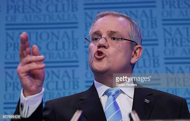 Treasurer Scott Morrison delivers his post Budget National Press Club address in the Great Hall at Parliament House on May 4 2016 in Canberra...