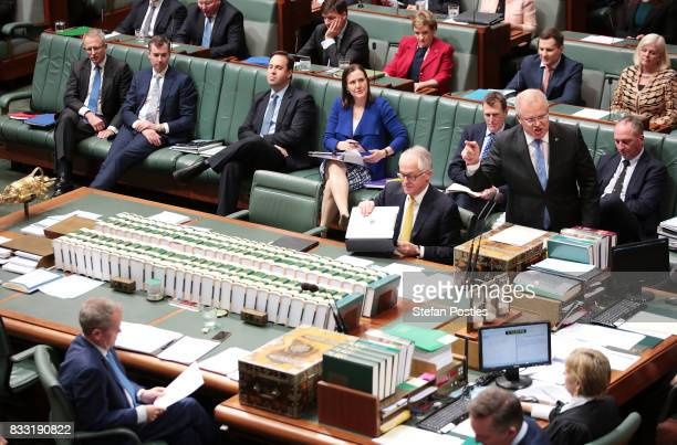 Treasurer Scott Morrison during House of Representatives question time at Parliament House on August 17 2017 in Canberra Australia Justice Minister...