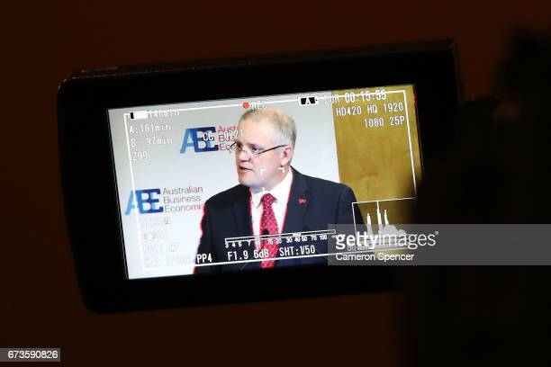 Treasurer Scott Morrison is seen on a viewfinder from a camers as he speaks to the Australian Business Economists forum at Westin Hotel on April 27...