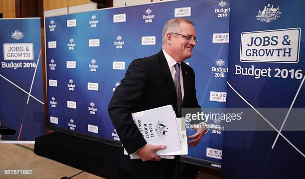 Treasurer Scott Morrison leaves after a press conference in the budget lockup at Parliament House on May 3 2016 in Canberra Australia The Coalition...