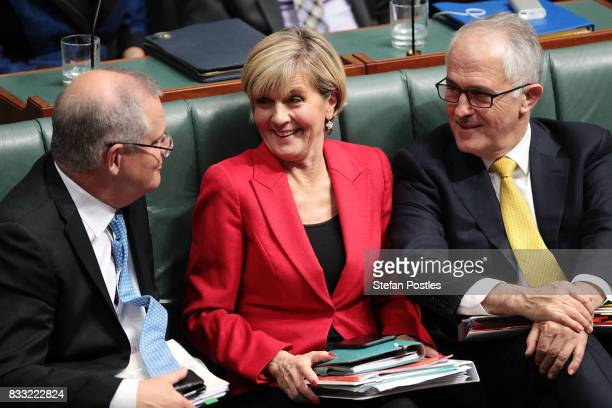 Treasurer Scott Morrison Minister for Foreign Affairs Julie Bishop and Prime Minister Malcolm Turnbull during House of Representatives question time...