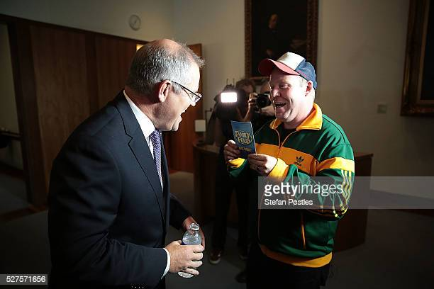 Treasurer Scott Morrison plays Family Feud's Fast Money with Comedian Peter Hellier in the budget lockup at Parliament House on May 3 2016 in...