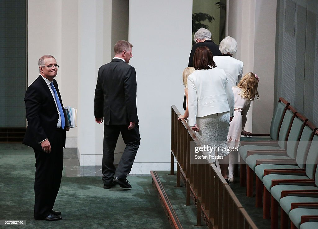 Treasurer Scott Morrison prepares to leave with his family after delivering his budget in the House of Representatives at Parliament House on May 3, 2016 in Canberra, Australia. The Coalition government will deliver the 2016 federal budget tonight, and is expected to announce changes to the tax system for individuals and business as well as changes to superannuation.