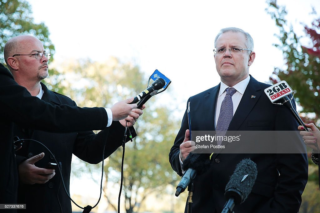 Treasurer Scott Morrison speaks during a door stop outside Parliament House on May 3, 2016 in Canberra, Australia. The Coalition government will deliver the 2016 federal budget tonight, and is expected to announce changes to the tax system for individuals and business as well as changes to superannuation.