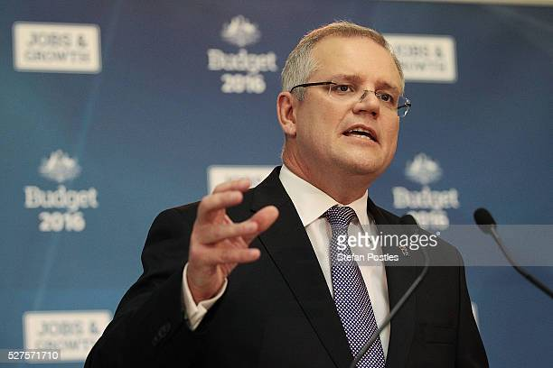 Treasurer Scott Morrison speaks during a press conference in the budget lockup at Parliament House on May 3 2016 in Canberra Australia The Coalition...