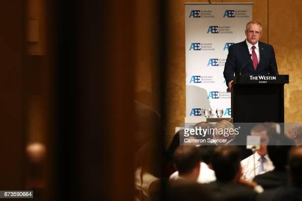 Treasurer Scott Morrison speaks to the Australian Business Economists forum at Westin Hotel on April 27 2017 in Sydney Australia The treasurer will...