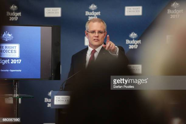 Treasurer Scott Morrison speaks to the media during a press conference at Parliament House on May 9 2017 in Canberra Australia The treasurer will...