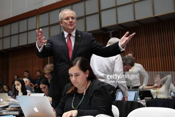 Treasurer Scott Morrison speaks to the media in the budget lockup at Parliament House on May 9 2017 in Canberra Australia The treasurer will identify...