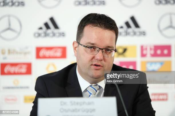 Treasurer Stephan Osnabruegge talks to the media during the presentation of the DFB 2016 Financial Report at the DFB Headquarters on July 24 2017 in...