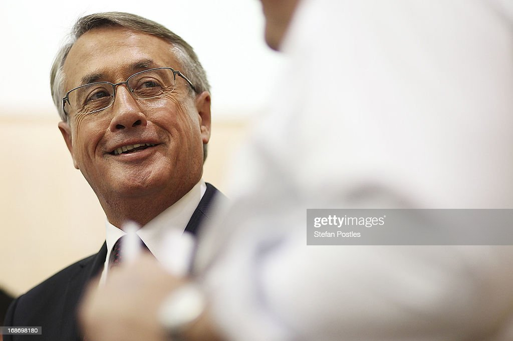 Treasurer <a gi-track='captionPersonalityLinkClicked' href=/galleries/search?phrase=Wayne+Swan&family=editorial&specificpeople=4582809 ng-click='$event.stopPropagation()'>Wayne Swan</a> talks over the details of the budget with members of the media held in 'Budget lock up' on May 14, 2013 in Canberra, Australia. Treasurer <a gi-track='captionPersonalityLinkClicked' href=/galleries/search?phrase=Wayne+Swan&family=editorial&specificpeople=4582809 ng-click='$event.stopPropagation()'>Wayne Swan</a> will tonight present the federal budget to parliament, revealing a budget deficit and announcing a ten-year plan to bring the budget back to surplus, if the Labor party is re-elected on election day this September 14.
