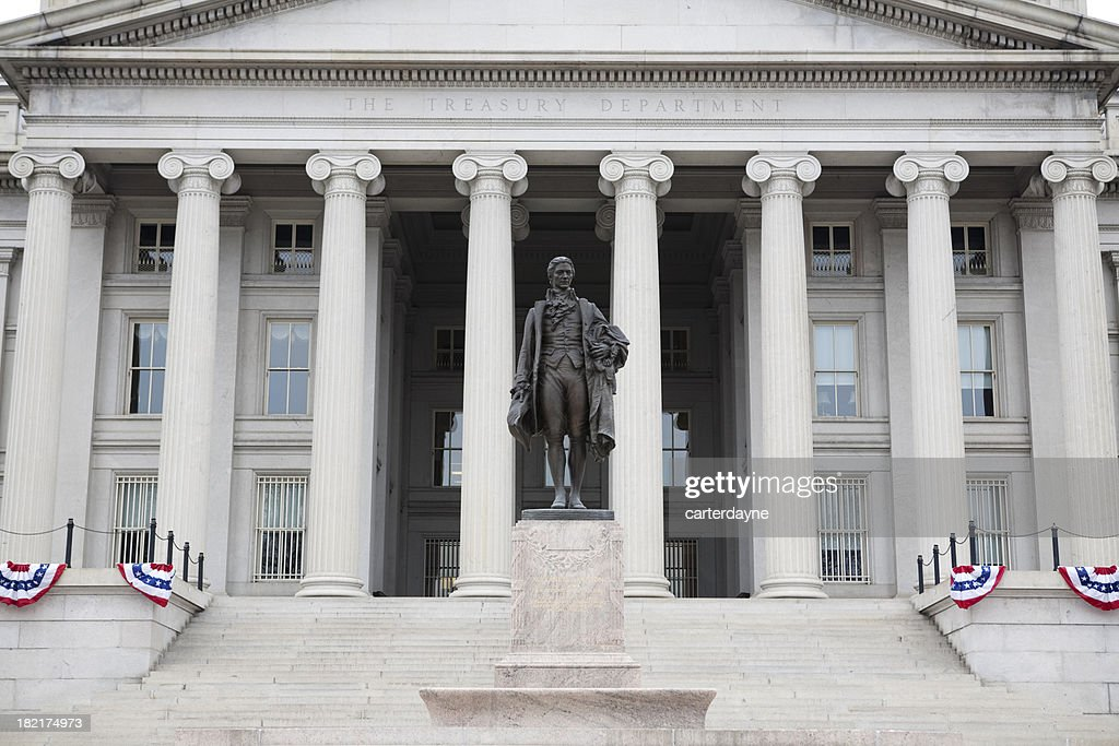 'US Treasury Building and Statue, Washington DC'