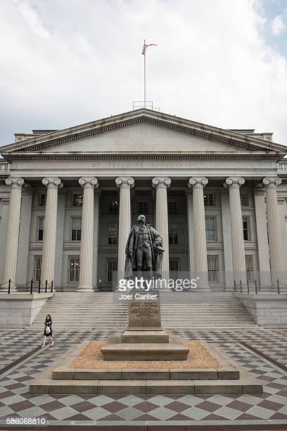U.S. Treasury Department building and Albert Gallatin statue
