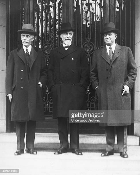 Treasury Secretary Andrew Mellon Governor of the Bank of England Sir Montague Norman and Eugene Meyer Governor of the Federal Reserve Board on the...