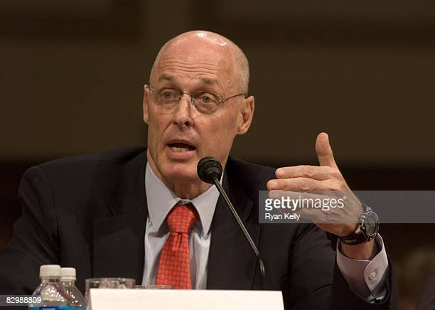 Treasury Secretary Henry M Paulson Jr testifies before the Senate Banking Housing and Urban Affairs Committee on legislation to address the financial...