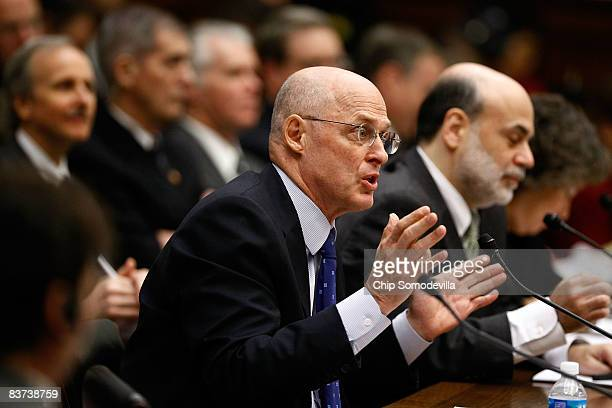 S Treasury Secretary Henry Paulson and Federal Reserve Bank Chairman Ben Bernanke testify before the House Financial Services Committee on Capitol...