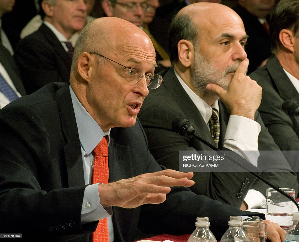 US Treasury Secretary Henry Paulson (L) and Federal Reserve Chairman Ben Bernanke testify before the Senate Banking Committee on Capitol Hill in Washington on September 23, 2008. The US economy is in imminent peril if Congress delays approving a 700-billion-dollar rescue, Paulson warned Congress as global markets rang the alarm. AFP PHOTO/Nicholas KAMM
