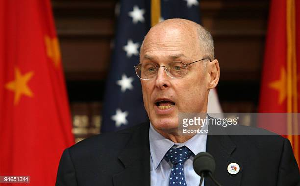 S Treasury Secretary Henry Paulson reads a closing statement to conclude the second meeting of the US China Strategic Economic Dialogue in Washington...