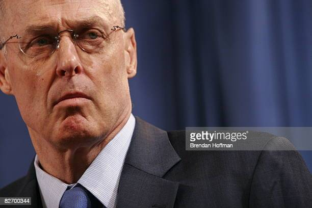Treasury Secretary Henry Paulson speaks during a news conference announcing a federal takeover of Fannie Mae and Freddie Mac September 7 2008 in...