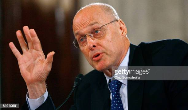 S Treasury Secretary Henry Paulson testifies before the Senate Banking Housing and Urban Affairs Committee on Capitol Hill July 15 2008 in Washington...