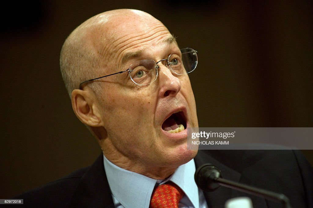 US Treasury Secretary Henry Paulson testifies before the Senate Banking Committee on Capitol Hill in Washington on September 23, 2008. The US economy is in imminent peril if Congress delays approving a 700-billion-dollar rescue, Paulson warned Congress as global markets rang the alarm. AFP PHOTO/Nicholas KAMM