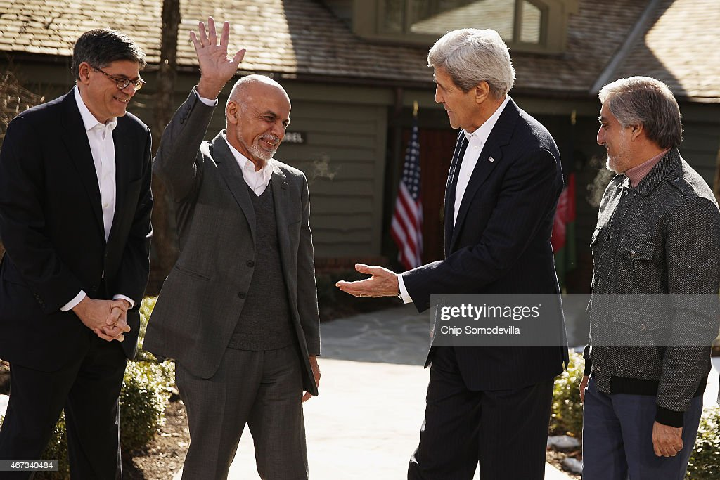 U.S. Treasury Secretary <a gi-track='captionPersonalityLinkClicked' href=/galleries/search?phrase=Jack+Lew&family=editorial&specificpeople=2745013 ng-click='$event.stopPropagation()'>Jack Lew</a>, Afghanistan President <a gi-track='captionPersonalityLinkClicked' href=/galleries/search?phrase=Ashraf+Ghani&family=editorial&specificpeople=2085543 ng-click='$event.stopPropagation()'>Ashraf Ghani</a>, U.S. Secretary of State <a gi-track='captionPersonalityLinkClicked' href=/galleries/search?phrase=John+Kerry&family=editorial&specificpeople=154885 ng-click='$event.stopPropagation()'>John Kerry</a> and Afghanistan Chief Executive <a gi-track='captionPersonalityLinkClicked' href=/galleries/search?phrase=Abdullah+Abdullah&family=editorial&specificpeople=695346 ng-click='$event.stopPropagation()'>Abdullah Abdullah</a> appear for photographs before sitting down for meetings at Camp David March 23, 2015 in Camp David, Maryland. After a series of meetings about security, economic development, American support for the Afghan-led reconciliation process, the four leaders will hold a news conference.