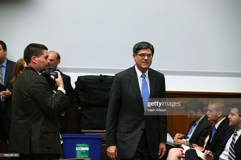 Treasury Secretary <a gi-track='captionPersonalityLinkClicked' href=/galleries/search?phrase=Jack+Lew&family=editorial&specificpeople=2745013 ng-click='$event.stopPropagation()'>Jack Lew</a> arrives at a House Financial Services Committee hearing May 22, 2013 on Capitol Hill in Washington, DC. The committee held a hearing on the Financial Stability Oversight Council's annual report.