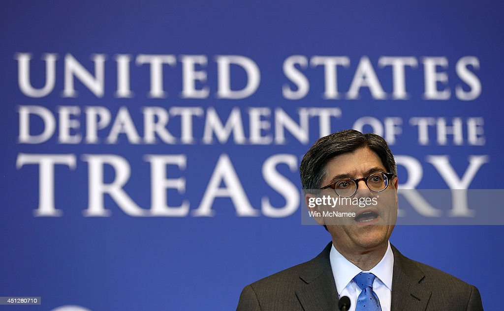S Treasury Secretary Jack Lew speaks at the Treasury Department June 26 2014 in Washington DC Lew delivered closing remarks at the Making Home...
