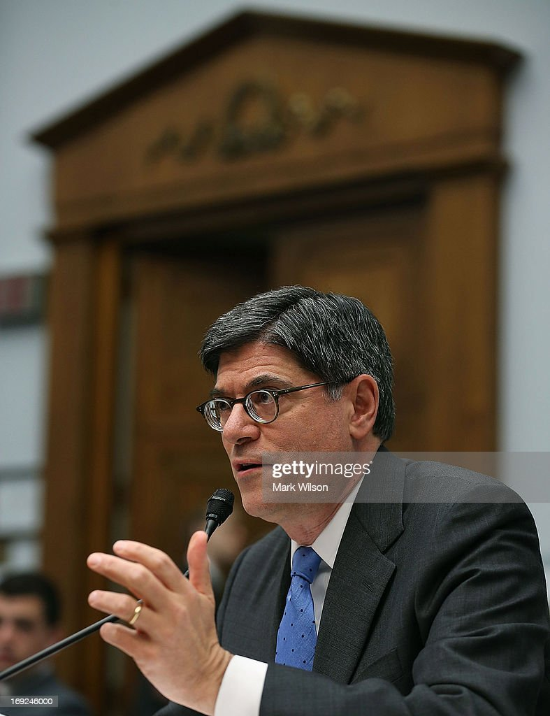 Treasury Secretary <a gi-track='captionPersonalityLinkClicked' href=/galleries/search?phrase=Jack+Lew&family=editorial&specificpeople=2745013 ng-click='$event.stopPropagation()'>Jack Lew</a> testifies during a House Financial Services Committee hearing May 22, 2013 on Capitol Hill in Washington, DC. The committee held a hearing on the Financial Stability Oversight Council's annual report.